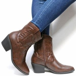Shoes - New Brown Mid Calf Ankle Cowboy Low Western Boots